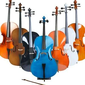 New 1/2 3/4 4/4 Basswood Acoustic Cello w/ Bag+Bow+Rosin+Bridge