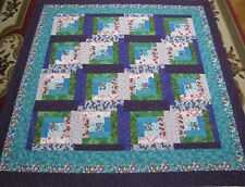 """Log Cabin Patchwork Large Quilt Top~PIECED~""""Multi-Colored"""" Baby,Wall,Lap  60""""Sq"""