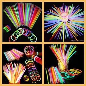 """Glow Sticks 8""""Bracelets Necklaces Party Favors Neon Color 20 50 100 200"""