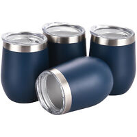 4 Pack Stemless Wine Tumbler 12oz Stainless Steel Wine Glass Cup Double Wall Cup