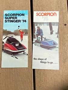 Vintage SCORPION SNOWMOBILE Sales Brochures Tri-Folds 1974 & 1975 WHIP Brochures