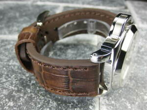 24mm BIG CROCO Leather Strap Antique Brown Thick Watch Band Brown Stitch PANERAI
