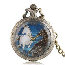 Vintage Horses Pattern Women Men Quartz Pocket Watch FOB Chain Gift for Kids