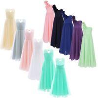 Girls Flower Chiffon Dress Kids Princess Party Wedding Bridesmaid Long Prom Gown
