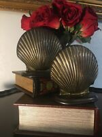 """Vintage Art Deco Solid Brass Clam Shell Bookends 5""""H X5.5""""W"""