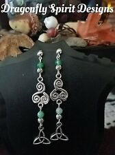 Wiccan/Pagan Magical -PROTECTION- Green Striped Agate Celtic Triqueta Earrings