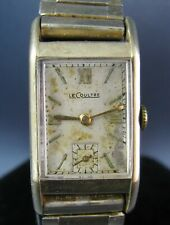 Vintage LeCoultre Solid 14k Gold Art Deco Mens Watch 1930s To Restore AS IS