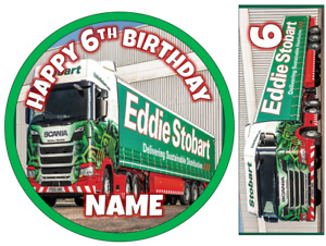 EDDIE STOBART TRUCKS INSPIRED PERSONALISED EDIBLE ICING CAKE TOPPER UP TO A3