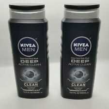 Nivea Men 16.9 Oz Active Clean Deep Cleansing Charcoal Body Wash Pack of 2