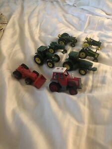 John Deere 8 Piece Lot Tractors Farm Equipment Case Lot Diecast / Plastic