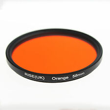 RISE UK 58mm Full Orange Color Gel Filter for Canon Nikon Fuji Samsung Lens