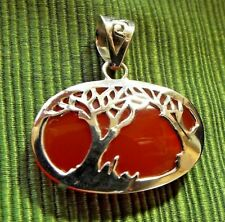 * CARNELIAN TREE-OF-LIFE PENDANT * in .925 Solid Sterling Silver