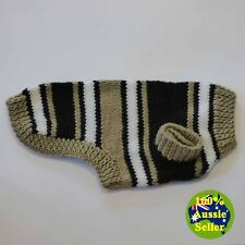 Brown Hand-Knitted Dog Coat Jumper. Unique Design Suit Small Dog S248