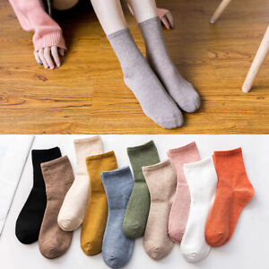 Women Solid Colors Breathable Cotton Socks Casual Middle Tube Ankle Crew Socks