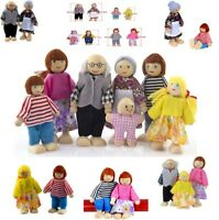 1 Set Wooden Furniture Dolls House Family Miniature 7 People Doll Toy Decoration