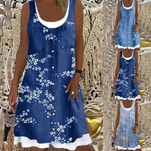 Plus Size Womens Summer Sleeveless Midi Dress Ladies False 2 Pcs Beach Sundress