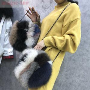 Round Style Real Fox Fur Bag Purse Shoulder Messenger Real Fur Bag Handbag