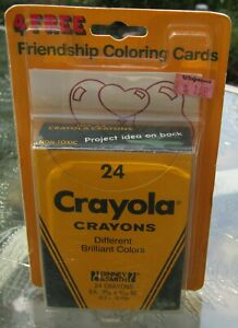 1987 Binney & Smith 24 Count CRAYOLA Crayons With 4 Free Friendship Cards UNUSED