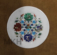 Decorative Wall Plate Vintage Plates Marble Inlay Work Decor Collectible Mosaic