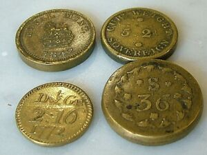 DATED 1772 1821 1842 ANTIQUE GOLD GUINEA & HALF COIN WEIGHT SOVEREIGN SCALE