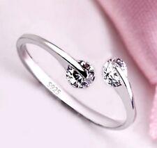 925 Silver Ring Elegant simple Opening Silver 2 Rhinestone Crystal Wedding Ring
