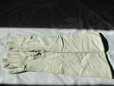 Vintage Ladies genuine fine-grained Leather Opera Glove off white wool lined 6.5