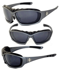 Choppers Motorcycle Riding Glass Foam Padded Sunglasses - Gunmetal C49