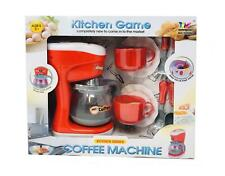 Kids Play Kitchen  Set Play set Coffee Maker with Cups Spoon Forks Music Light