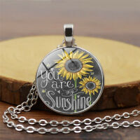Charm Sunflower You Are My Sunshine Cabochon Glass Chain Necklace Jewelry Little