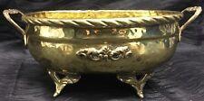 Vtg Brass Hand Hammered Footed Bowl Pot with Handles Planter Spiral Rim