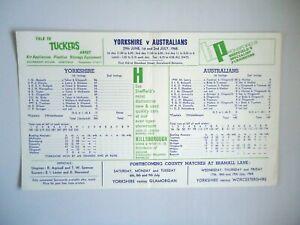 YORKSHIRE  V  AUSTRALIA   -  Cricket Scorecard  1968  - Bramall Lane -  PRINTED