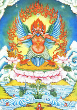 "Tibetan Buddhism Thangka Mythology - Garuda Bid Printed Silk Brocade Scroll 32"""