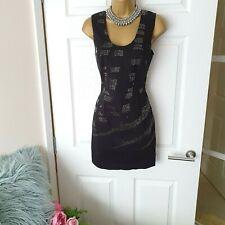 BNWT Religion Dress Black Bodycon Beads Mini Party Clubbing Sexy Size S UK 8-10