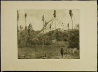"""Oberitalienische Landschaft"" 1909 Radier. Hans THOMA (1839-1924 D) handsigniert"