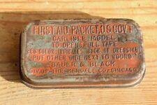 """2.WK / WW II  : US-Erste-Hilfe-Paket Blechdose gemarkt """"Bauer & Black Chicago """""""