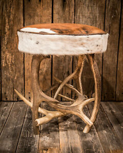Antler Stool with Genuine Cowhide Free Shipping US Seller Deer Elk Lodge Rustic