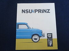 NSU PRINZ 1958-1959 Sales Brochure Fold Out Specificiations Excellent Condition