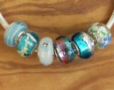 6 x Beads Sterlingsilber und Glasperle *** AUS ECHTEM SILBER und Glas, blau