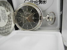 Pocket Watch With Date New Reduce Colibri Brushed Silvertone Quartz Black Face