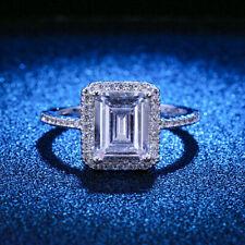 Sapphire Anniversary Girls Rings Size 6 Cute 925 Silver Rings Emerald Cut White