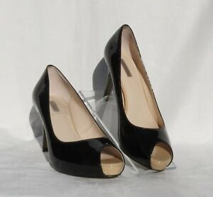 TAHARI REGAL Black Patent Platform High Heels Peep Toe Pumps Shoes size US 7.5