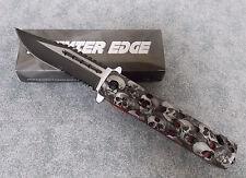 """PREMIER EDGE 4 3/4"""" GREY & BLACK SKULL DESIGN FOLDING KNIFE 300325-GY"""