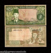 INDONESIA 25 RUPIAH P84b 1960 SUKARNO 3 PREFIX CURRENCY MONEY BILL BANK NOTE