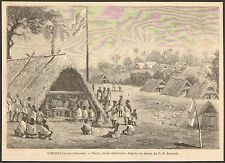 GUYANE GUIANA MARONI PIKET GRAVURE IMAGE 1877