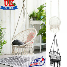 More details for beige/black hanging macrame hammock chair cotton woven rope swing chair seat uk
