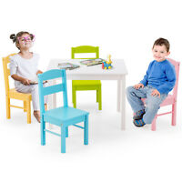 5 PCS Kids Table &4Chairs Set Wooden Construction Playroom Activity Furniture