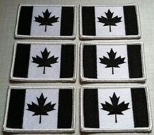 6 Six Canadá Bandera Plancha Patch Canadiense Militar Emblema Negro y Blanco