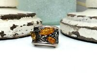 Sterling Silver 925 Baltic Amber Organic Modernist Filigree Thorn Size 6.5 Ring