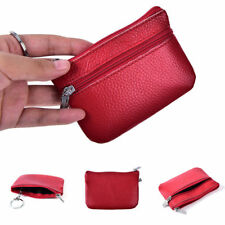 Women Men Leather Coin Purse Card Wallet Clutch Double Zipper Small Change Bags