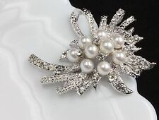 Ribbon design Austrian Clear crystal silver plate white pearls Brooch pin D33